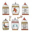 Beautiful collection of bird cages and little birds — Stock Vector #78047884