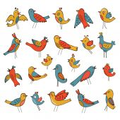 Cute collection of funny birds — Stock Vector