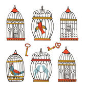 Beautiful collection of bird cages and little birds — Stock Vector