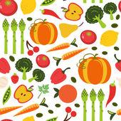 Belo padrão sem emenda com frutas e legumes — Vetor de Stock