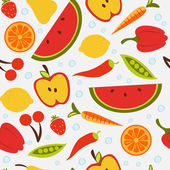 Beautiful seamless pattern with fruit and vegetables — Stock Vector