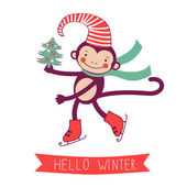 Hello winter concept card with monkey - symbol of 2016 new year — Stock Vector