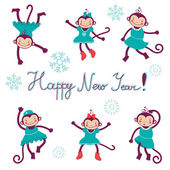 Happy new year card with monkeys - symbol of 2016 new year — Stock Vector