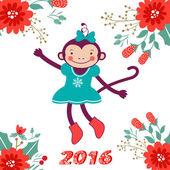 Cute karty z cute małpy zabawne postać - symbol nowego roku 2016 — Wektor stockowy