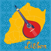 Typowa portugalskie fado gitara na tle płytki mapę i azulejo Lizbony — Wektor stockowy