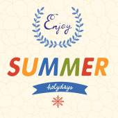 Enjoy summer vector typography on floral background — Stock Vector
