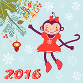 Cute card with cute funny monkey character - symbol of new 2016 year — Stock Vector