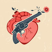 Retro styl znak s lidským srdcem a revolver — Stock vektor