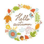 Güzel Merhaba sonbahar kartı çelenk ile — Stok Vektör