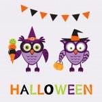 An illustration of cute halloween owls — Stock Vector #82079654