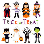 Cute colorful Halloween kids set — Stock Vector