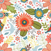 Colorful seamless pattern with birds and blooming flowers — Stock Vector