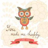 You make me happy romantic card with cute owl and flowers — Stock Vector