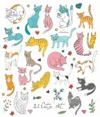 21 cute hand drawn cat colorful set with twigs flowers and leaves — Stock vektor
