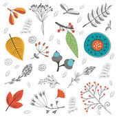 Podzimní listí, větvičky květiny a listy — Stock vektor