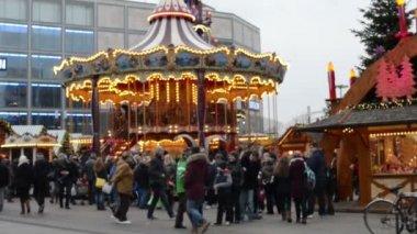 Tram is passing by on Alexanderplatz and  People walking in Berlin Mitte — Stock Video