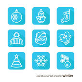 Set with badges - winter — Stock Vector