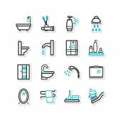 Set of icons - a bathroom — Stock Vector