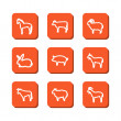 Set with icons - animals on a farm — Vettoriale Stock