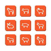 Set with icons - animals on a farm — Vetorial Stock