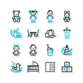 Set of icons - a home interior, nursery, children — Vector de stock