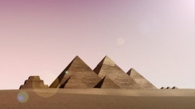 Animation of pyramids from dusk till dawn — Stockvideo