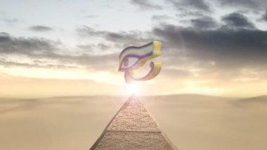 Eye of horus rotating above a piramid — Stock Video