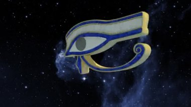 Eye of horus rotating in the universe — Stock Video