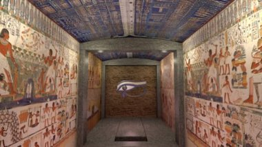 A 3D animation of a tomb in ancient Egypt. A greenscreen at the end of the stairs — Stock Video