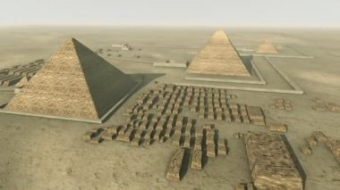 Rotating above a 3D animation of the Giza platform Egypt. Loop-able — Vídeo de Stock
