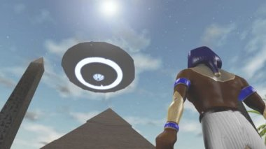 Animation of the egyptian god Horus and an UFO — Stock Video