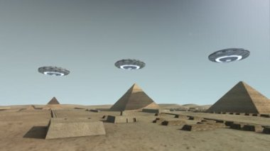 The Giza platform Egypt with some UFOs — Vídeo de Stock