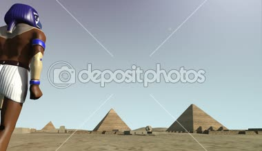3D animation of the Giza platform Egypt and the god Horus — Vídeo de Stock