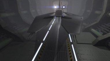 Futuristic spaceship in u turn above a 3D city — Stock Video