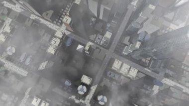 Animierte stadt luftbild mit wolken — Stockvideo