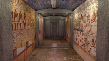 A 3D animation of a tomb in ancient Egypt. A greenscreen behind a door — 图库视频影像