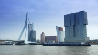 The Erasmusbrug and modern buildings of Rotterdam — Stock Video