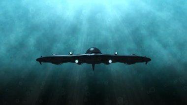 Futuristic submarine underwater scene — Stock Video