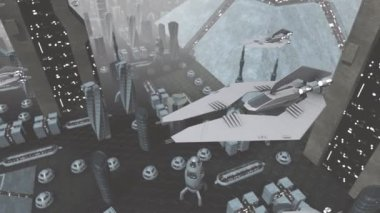 Futuristic spaceships flying above city — Wideo stockowe