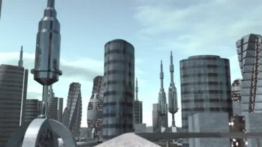 Ride through futuristic city — Stock Video