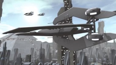 Futuristic spaceship flying above city — Wideo stockowe