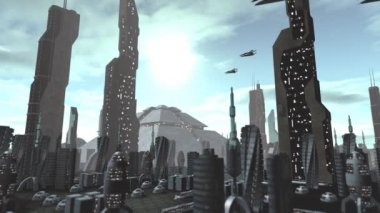 Futuristic city with spaceships passing by — Stock Video