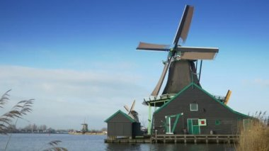 Turning windmill in Holland — Stock Video