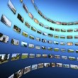 Video wall with different touristc clips, rotating. — Stock Video #69321511