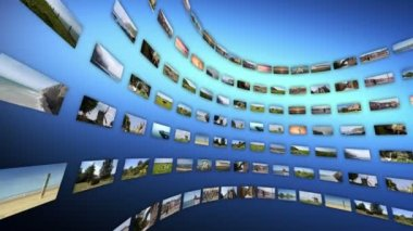 Video wall with different touristc clips, rotating. — Stock Video