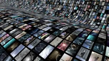 Animated video wall, curved — Stock Video