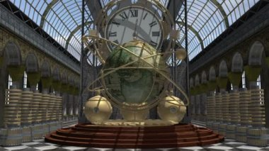 Zoom in to a time machine animated in Steam Punk style — Vídeo de Stock