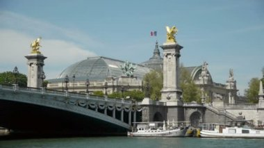 Grand Palais and pont of Alexandre III — Stock Video