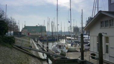 Sailing boats at Veerhaven Rotterdam — Stock Video
