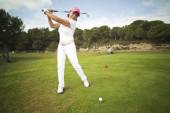 Beautiful senior female golf player — Stock Photo